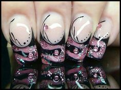 I love these nails so much!!!! Pink and black with pink gems!!!