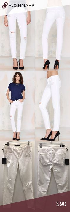 Genetic Denim Draw A Blank Skinny Jeans This summer, we're all about all-white-everything. These distressed skinny jeans feature the classic 5-pocket style, zip/button closures, and a low rise. Unlined. Perfect with a white tee and your go-to moto jacket! By Genetic Denim.  *Cotton/Elastane  *Runs true to size  *Model is wearing size 25  *Machine wash warm  *Made in U.S.A. Genetic Denim Jeans