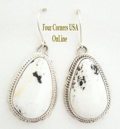 Four Corners USA Online - White Buffalo Turquoise Sterling Silver Earrings by Larson Lee Native American Silver Jewelry, $164.00 (http://stores.fourcornersusaonline.com/white-buffalo-turquoise-sterling-silver-earrings-by-larson-lee-native-american-silver-jewelry/)