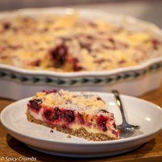 Ostružinový koláč z mandlového těsta s ricottou