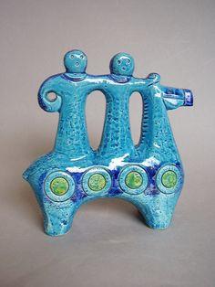 60s Rimini blue horse rider figurine, Aldo Londi for Bitossi, Italy
