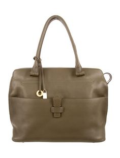 Green leather Loro Piana Bellevue bag with gold-tone hardware, dual rolled top…