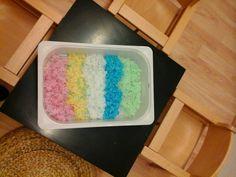 Alter: ab 1 Jahr Besonders gefördert: Fühlsinn Gekochte und gefärbte Tapiokaperlen Hier seht ihr eine weitere Fühlwanne, die ge...