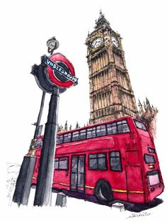 Big Ben - Double Decker, London, UK. Travelling, Drawing and Painting. By Akihito Horigome.