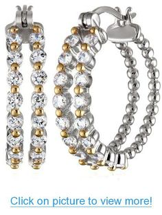 18k Yellow Gold Plated Sterling Silver Two-Tone Simulated Diamond Twisted Two Row Hoop Earrings