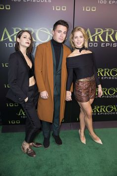 Willa Holland, Colton Haynes and Emily Bett Rickards at the #Arrow 100th episode celebration