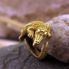 Gold Kieselstein-Cord Crocodile Ring   Vintage & Antique Engagement Rings   Erstwhile Jewelry Co NY