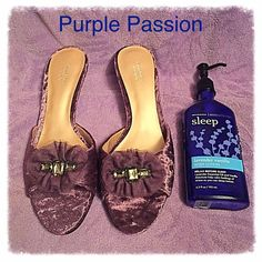 Vera Wang Purple Velvet Kitten Heel Sexy Slides 10 Slip into sexy with these beautiful slides by Simply Vera Vera Wang. Purple velvet embellished with tulle and gems at toe. Even kitten heel is covered in velvet. Women 10 - Display shoes never worn  Simply Vera Vera Wang Shoes Mules & Clogs
