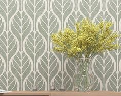 Wall Decor Stencil- Floral Pattern Stencil - Wall Stencil With Leafs Motive