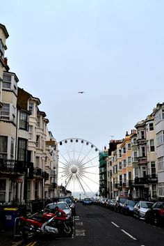 A nice shot of a Brighton street leading up to the Brighton wheel.