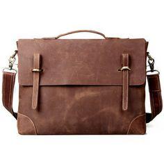 """Image of Vintage Handmade Genuine Crazy Horse Leather Briefcase Messenger 14"""" Laptop / 15"""" MacBook Bag"""