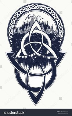 Celtic knot tattoo. Mountain, forest, symbol travel, symmetry, tourism t-shirt design. Celtic tattoo in ethnic style