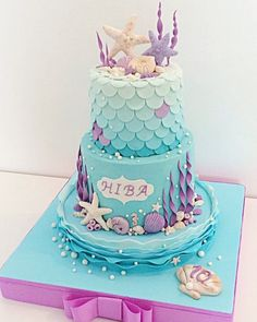 Love these colors on this beautiful mermaid cake! Little Mermaid Cakes, Mermaid Birthday Cakes, Little Mermaid Parties, Birthday Cake Girls, Mermaid Cake Pops, 5th Birthday, Birthday Ideas, Sirenita Cake, Bolo Tumblr