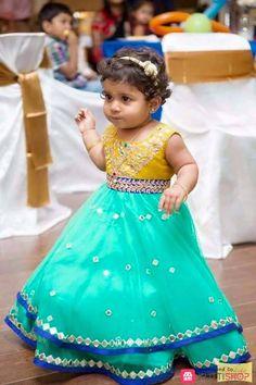 Kids frocks from Yaksi Kids Indian Wear, Kids Ethnic Wear, Baby Frock Pattern, Baby Dress Patterns, Baby Girl Fashion, Kids Fashion, Frocks And Gowns, Kids Frocks Design, Kids Lehenga