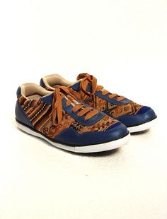 Ethnic Andean Aguayo (Traditional Fabric from Andes) Blue Brown Sneakers Shoes