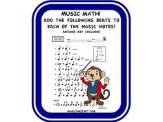 Ideas Music Note Math Student For 2019 Math Addition Worksheets, Music Worksheets, Music Education Activities, Kids Education, Music Math, Music For Kids, Math Skills, Student Learning, Teacher Newsletter