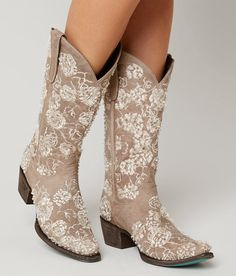 Lane boots wild rose cowboy boot - women's shoes in cream buckle Cute Cowgirl Boots, Wedding Cowboy Boots, Dresses With Cowboy Boots, Cowboy Boots Women, Cute Boots, Western Boots, Tall Boots, Snow Boots, Country Wedding Boots