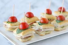 50 Afternoon Tea Recipes - from finger sandwiches, and savoury tarts, to scones, and more! All the recipes you will need to host an afternoon tea party! Toothpick Appetizers, Appetizer Recipes, Mini Sandwiches, Turkey Sandwiches, Recipes Using Puff Pastry, Pepperidge Farm Puff Pastry, Quick And Easy Appetizers, Mini Foods, Recipes