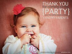 First birthday thank you card