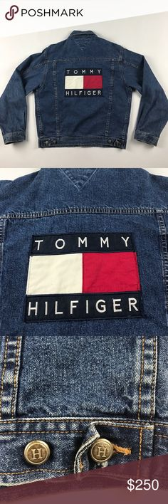 Vintage Small Tommy Hilfiger Big Logo Denim Jacket Tag says Large but it fits like a men's XS-Small. Button head is broken on the cuff Tommy Hilfiger Jackets & Coats Bomber & Varsity