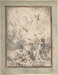 1770. Allegory on the Marriage of the Dauphin and Marie-Antoinette in 1770. Gabriel de Saint-Aubin (French, Paris 1724–1780 Paris)