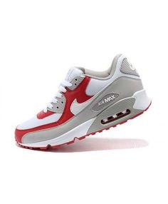 Nike Air Max 90 PRM White Grey Red Men'S Women'S Shoes Blue Sneakers, Air Max Sneakers, Sneakers Nike, Air Max 90, Nike Air Max, Sports Shoes, Leather Men, Women's Shoes, Couple