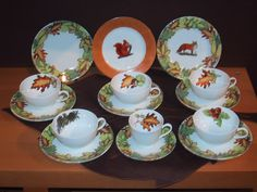 "collection ""autumn leaves"" plates , cups and saucers, coffee or tea sets... and lovely accents in Limoges porcelain. mix and match of colors, animals, mushrooms, or autums leaves....forest and wood accents"