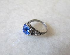 Antique Ring / Art Deco Filigree Ring With Blue Paste by LUXXOR, $135.00