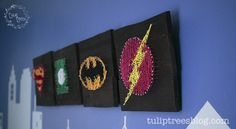 Justice League Super Hero String Art, including a printable template for each: Flash, Batman, Superman, & Green Lantern Logos! – Tulip Trees Blog