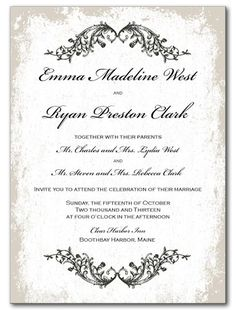 Classic Vines Wedding Invitation