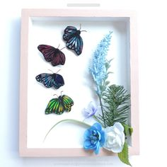 """Butterflies are such a beautiful bug and the journey the monarch butterfly takes to migrate is insane as they migrate to another country just by a simple flutter.  Handmade from polymer clay, hand painted then varnished.   DESCRIPTION It is approximate 2-1/4"""" by 1-1/2"""" x 2/8"""" inch and weighs 9 to 11 grams.  Materials: Polymer clay, acrylic paint, brooch pin.   Check out my website for more details by clicking on the photo. $15.00 free shipping within Canada. Copyright."""