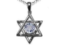 Star K Jewish Star of David Pendant Necklace with Round Genuine Aquamarine