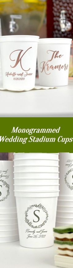 Guests will love taking their souvenir cups home to use again and again. A variety of imprint colors are available to match any theme, from earthy to glam! Wedding Cups, Wedding Reception, Personalized Cups, Plastic Cups, Monogram Wedding, Earthy, Colors, Souvenir, Marriage Reception