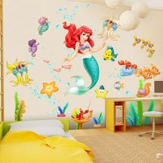 Disney little mermaid wall stickers, peel and stick, removable, free shipping