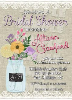 Mason Jar Bridal Shower Invitation Printable (Digital File Only) - Forever Fab Boutique