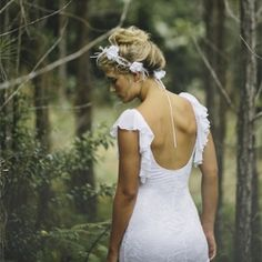 Our favorite designer, Grace Loves Lace, has just unveiled a line of hairpieces, showcased in this deep forest shoot. (Photo by James Frost)  LOVE the flower head band!! <3
