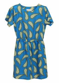 Blue Short Sleeve Paisley Print Chiffon Dress US$23.77