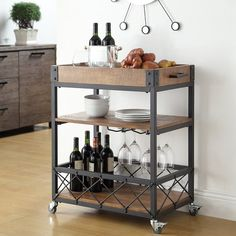 Zona Kitchen Cart with Wooden Top