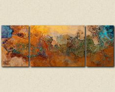 "Extra Large triptych abstract art canvas print, 30x80 to 34x90, southwest colors of orange, turquoise and copper, ""Canyon Sunset"""