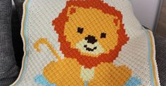 Baby Lion Blanket - Free Pattern Baby Lion BlanketThis crochet pattern / tutorial is available for free. C2c Crochet Blanket, Graph Crochet, Pixel Crochet, Crochet Blanket Patterns, Baby Patterns, Crochet Blankets, Free Crochet, Crochet Penguin, Crochet Lion