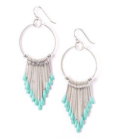 Look what I found on #zulily! Turquoise & Silvertone Fringe Drop Earrings by ZAD #zulilyfinds