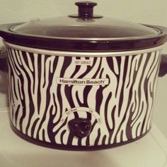 Zebra Print Crockpot -- obviously this was made for me...it already has my name on it. all prints