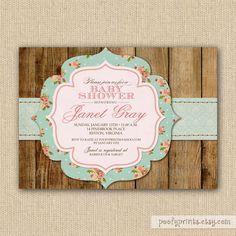 Rustic Shabby Chic Baby Shower Invitations - DIY Printable Baby Shower Invitations. $24.00, via Etsy.