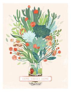 Terrarium Art Print – Cactus Art Print – Succulent Art Print – Illustration Drawing Digital Art Mason Jar Home Sweet Home Wall Art Art And Illustration, Illustration Cactus, Illustrations, Flower Illustration Pattern, Art Inspiration Drawing, Art Inspo, Art Aquarelle, Cactus Art, Cactus Plants