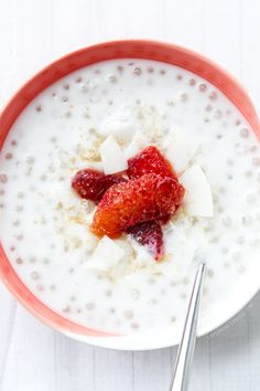 "Delish! // ""Coconut Tapioca Pudding with Blood Orange and Coconut Chips"" 