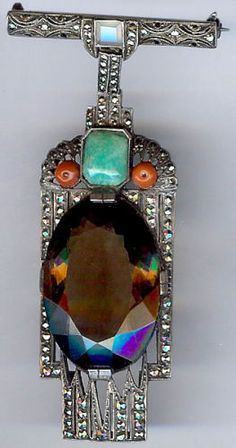 THEODOR-FAHRNER-ART-DECO-STERLING-MARCASITE-TOPAZ-CORAL-AMAZONITE-DANGLE-PIN