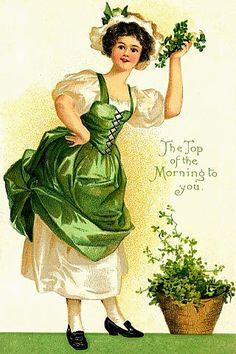 Vintage St Patrick Woman Green Graphic Image Art F Saint Patricks Day Art, St Patricks Day Cards, Postcard Display, Postcard Art, Postcard Template, Vintage Greeting Cards, Vintage Postcards, Holiday Postcards, Fete Saint Patrick