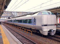 Hitachi/Kawasaki EMU from A-train family from JNR 683 series, JR West 683 5505 in Toyama-eki Railroad Station in Japan
