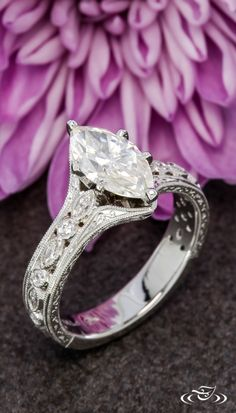 Marquise Engagement Ring with Hand Engraving. Green Lake Jewelry