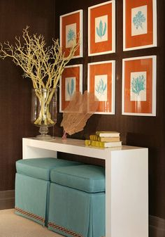 Turquoise Room Ideas Brown Orange And Turquoise Are A Winning Combination In This Hallway
